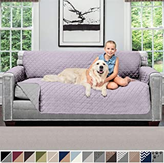 Sofa Shield Original Patent Pending Reversible Sofa Slipcover, 2 Inch Strap Hook, Seat Width Up to 70 Inch Furniture Protector, Couch Slip Cover Throw for Pets, Kids, Cats, Sofa, Purple Lt Gray