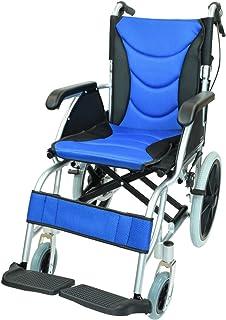 ケアテックジャパン 介助式 アルミ製 車椅子 CA-42SU ハピネスプレミアム -介助式- (ブルー)