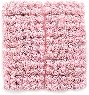 Mini Foam Rose Artificial Flowers for Home Wedding Car Decoration DIY Pompom Wreath Decorative Rose Bridal Flower Bouquet Fake Flower Roses Party Birthday Home Decor 144 pcs 2cm (Ligh Pink)