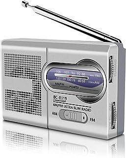 SOONHUA SOONHUA AM FM Radio de bolsillo, multifunción, Mini transistor digital portátil con batería con antena y cordón para caminar ancianos