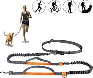 Winkeyes Hands Free Retractable Dog Leash 5ft-8ft with Dual Bungees for Puppy, Small & Medium Dogs 110Ibs, Adjustable Waist Belt 27