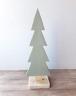 Albero di Natale minimalista in legno di colore verde - Altezza: 26 cm - Decorazione scandinava per la tua casa