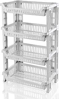 TU TENDENCIA UNICA Verdulero de 4 estantes Fabricado en plástico Polipropileno Blanco. Dispone de una Gran Capacidad de Almacenamiento de Alimentos. Medidas: 42 x 29 x 77 cm