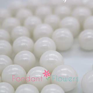 12mm White Sugar Pearls - 8 ounces Pearly White - Edible
