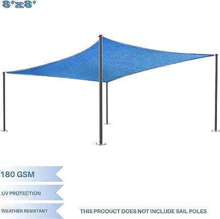 E&K Sunrise 8' x 8' Blue Rectangle Sun Shade Sail Outdoor Shade Cloth UV Block Fabric, Curve Edge-Customized