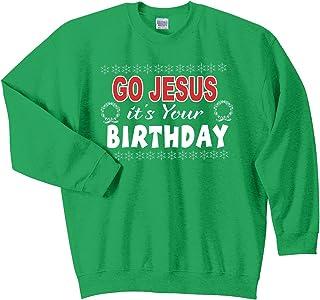 Trenz Shirt Company Go Jesus It's Your Birthday Ugly Christmas Sweater Crewneck-Irish Green
