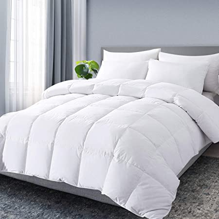 DOWNCOOL King Down Comforter, White Goose Duck Down and Feather Filling, Medium Warmth All Season 100% Cotton Quilted Duvet Insert King, White