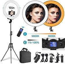 حلقه چراغ حلقه ای بی سیم از راه دور بی سیم 19 اینچ Dimmable 3000K-5800K 55W LED حلقه چراغ با پایه قابل تنظیم نور ، کیف حمل ، پلاگین ایالات متحده / اتحادیه اروپا برای عکسبرداری و آرایش خود پرتره در YouTube