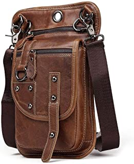 Leather Bag Mens Retro Fashion Leather Men's Fanny Pack Wear Belt Mobile Phone Fanny Pack Men's Outdoor Leisure Multi-Functional Men's Bag High Capacity (Color : Brown, Size : S)
