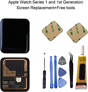 Ogodeal LCD Screen and Digitizer Assembly Replacement Repair Kit for Apple Watch Series 1 A1803 and (1st generation) A1554 42mm Sapphire Crystal Version with Repair Tool Set