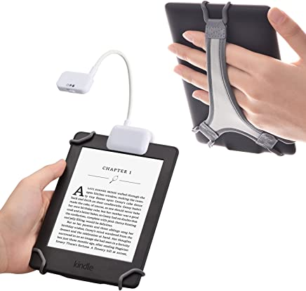 TFY Clip-on LED Reading Light with 2 Levels of Lumen Intensity for Kindle, Other e-Readers, Tablets, Books Plus Bonus Hand Strap Holder for 6 inch Kindle e-Readers - White