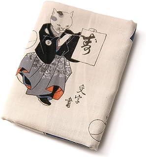 [でぃあじゃぱん] 手ぬぐい 浮世絵 猫の曲毬 歌川国芳 ネコ ベージュ 日本画 芸術 ベビー はんかち 和雑貨 日本製