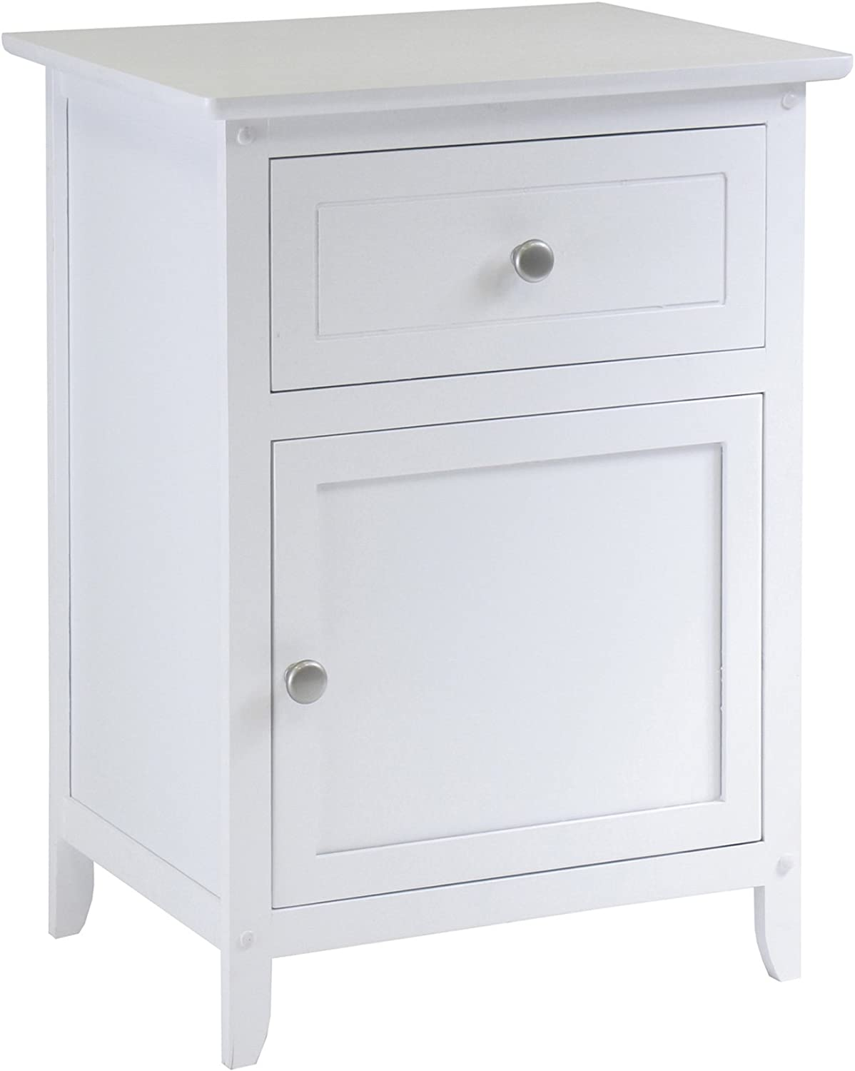 Winsome Wood Night Stand Accent Table with Drawer and Cabinet for Storage, White