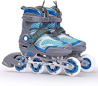 スケートレジャーローラースケート調節可能なインラインスケート子供大人ローラースケートローラー (Color : A, Size : M(33-36))