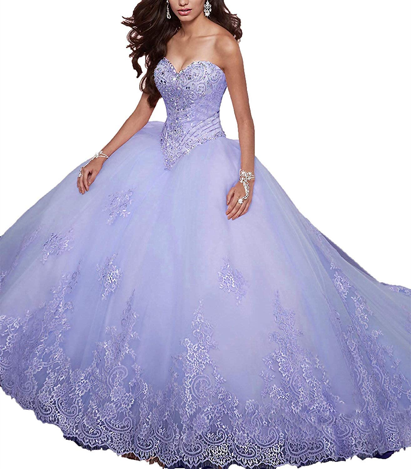 20KyleBird Women's Sweetheart Lace Appliques Quinceanera Dresses Ball Gown Beaded Sweet 16 Princess Dresses