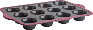 Trudeau Structure Pro Silicone Muffin Pan, 12 Cup, Grey/Pink
