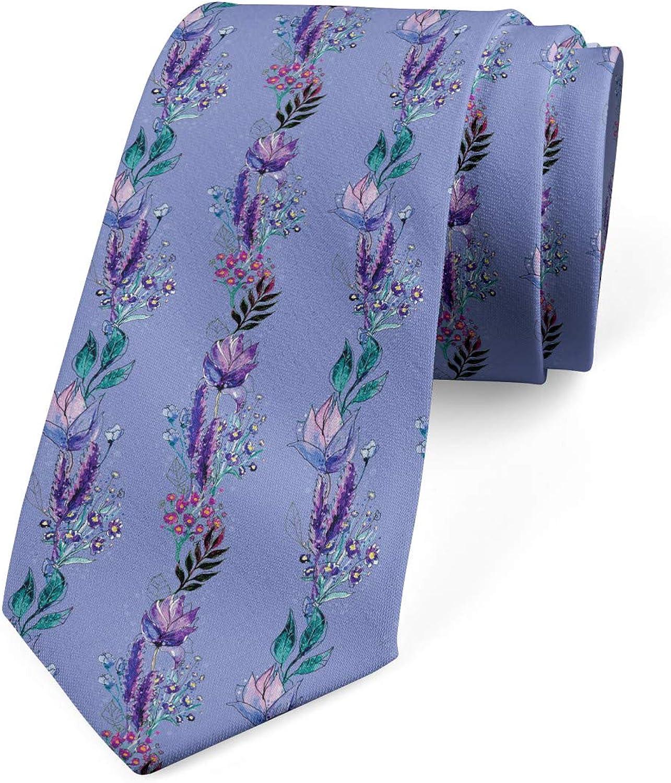 Ambesonne Necktie, Boho Bouquet Lines, Dress Tie, 3.7