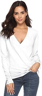 Pull Femme Col V Cache Coeur Decollete Tricot Haut Sexy Tee Shirt Serré Croix Avant Top Femme Élégant Chic Manche Longue S...