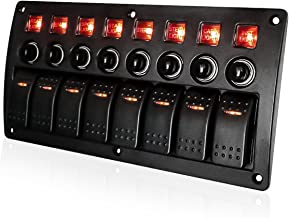 4/6/8 Gang Pre Wired Rocker Switch Panel - Waterproof On/Off Toggle Rocker, 12V 24V with Fuse, Circuit Breaker with 3 Pin Red LED Indicator for RV, Cars, Marine, Boat