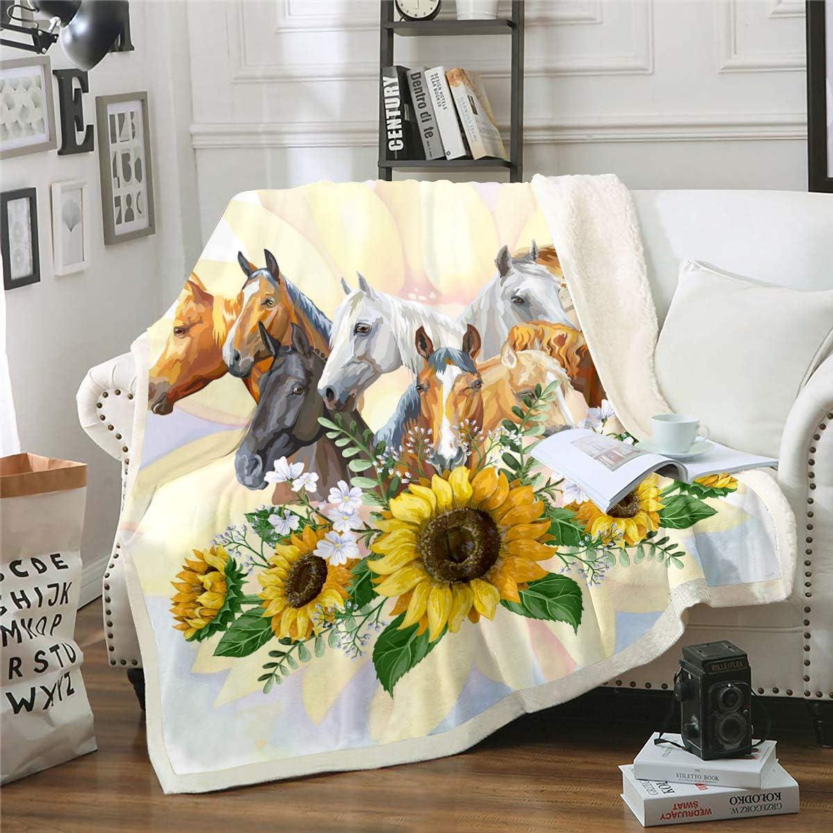 Erosebridal Nippon regular agency Horse Sherpa Blanket Throw At the price Blank Sunflower Branches
