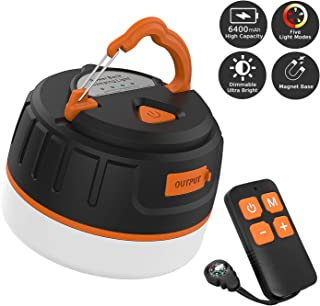 Sinvitron LED Camping Lantern Rechargeable/Power Bank 6400mAh, Portable USB Camping Tent Light W/Remote Control, Magnet Base, Dimmable, 5 Light Modes for Emergency, Hurricane, Power Outage