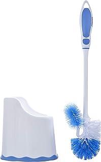 Toilet Brush and Holder - Blue and White Brush Set, Toilet Bowl Cleaner Brush with Scrubbing Wand, Under Rim Lip Brush and...