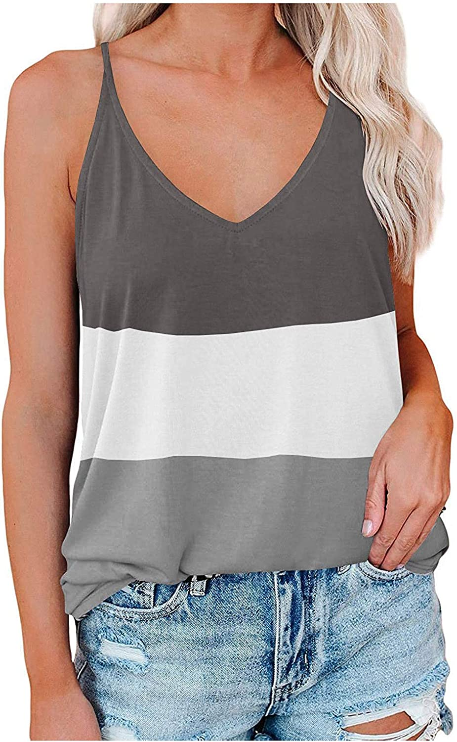 ovticza Womens Summer Tops Women Fashion Patchwork Color Vest Tops V-Neck Sleeveless Camisole Tank Top