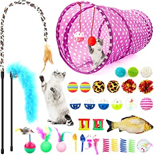 LONENESSL 33pcs Cat Toy Set Interactive Feather Toy Cat Teaser Wand Fluffy Mouse Bell Toys for Cats