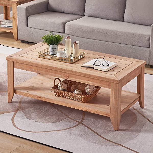 BON AUGURE Natural Wood Coffee Table With Storage Shelf Rustic Farmhouse Cocktail Table For Living Room 47 Inch Light Brown Finished