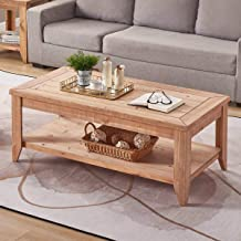 BON AUGURE Natural Wood Coffee Tablewith Storage Shelf, Rustic Farmhouse Cocktail Table for Living Room (47 Inch, Light Brown Finished)