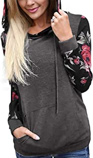 Women's Hoodies Long Sleeve Floral Pullover Casual Sweatshirt with Pockets