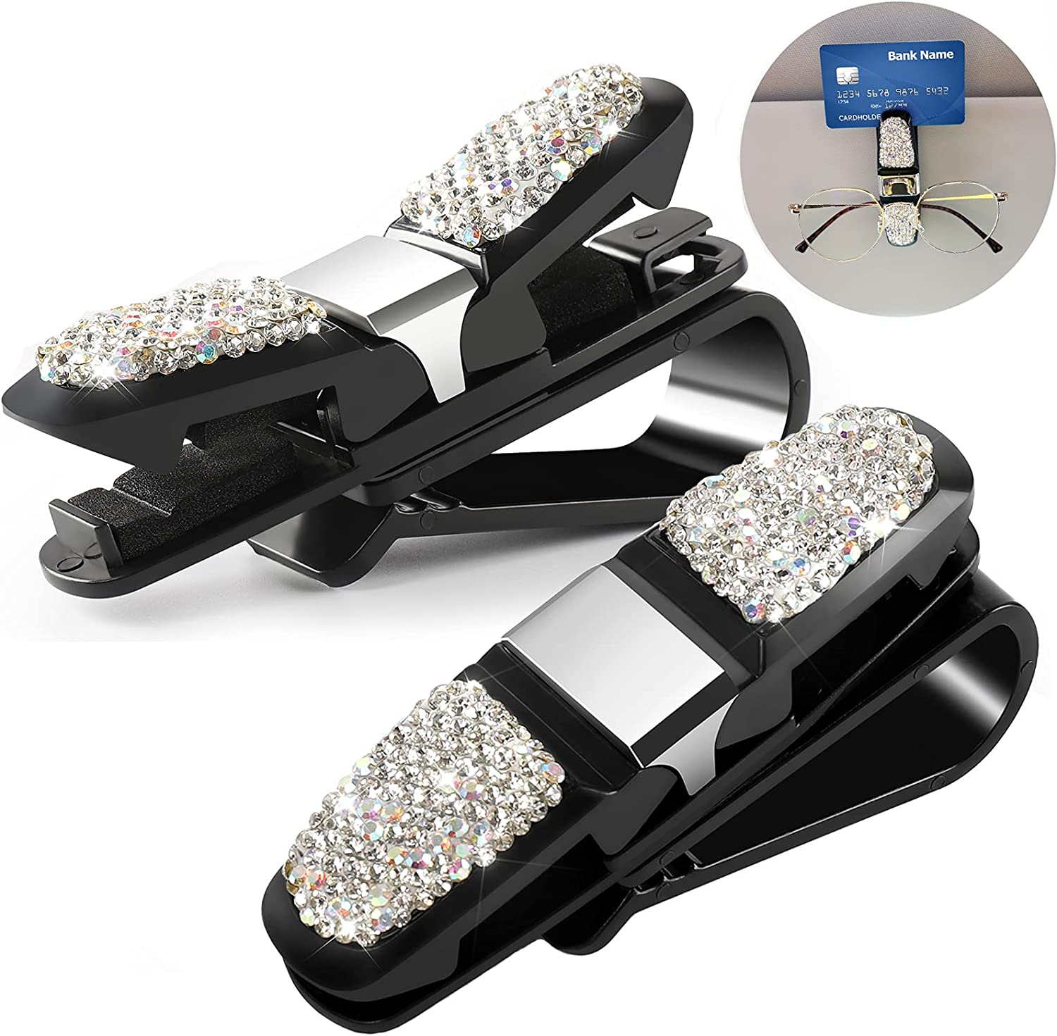 Accmor Bling Inventory cleanup selling sale Sunglasses Holder Clips for 35% OFF Visor 2 Car C Sun Pack
