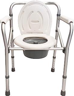 Silla cómoda plegable para inodoro o ducha, altura regulable 44-55 cm