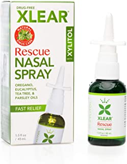 Xlear Rescue Nasal Spray with Xylitol, All-Natural Saline Nasal Spray for Sinus Rinse & Sinus Relief 1.5 fl oz (Pack of 2)