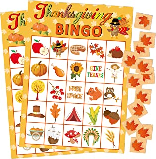 Fancy Land Thanksgiving Bingo Game 24 Players for Kids Holiday Party Craft Supplies