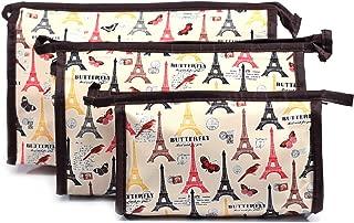 Bonjour Paris Coat Me 3 pc Women's Multi Purpose Makeup Bag/Cosmetic Pouch (BUTTERFLY TOWER)
