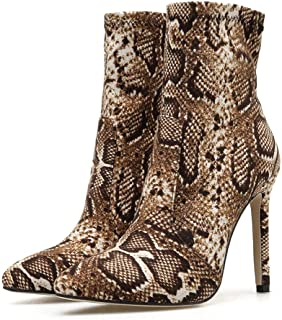 Jesper Women Snake Platform Stiletto Ankle Boots for Ladies Lace Up Side Zipper Sexy Fashion Nightclub Boots