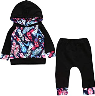 Infant Baby Girl Floral Hoodie Long Sleeve Tops Pant Outfit Sets