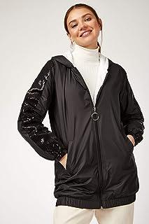 Akbaba Moda Plaza Kadın Kolları Payetli Siyah Mont 5103