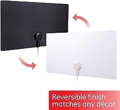 GE Ultra Edge Indoor TV Antenna, Slim Home Decor Reversible Black White, 4K 1080P VHF..