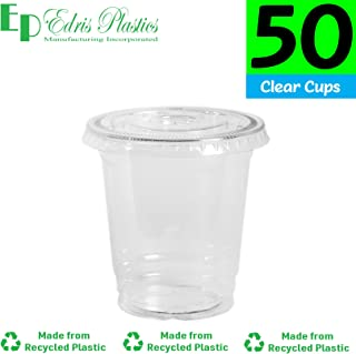 [50 Pack - 8 oz.] Earth - Friendly Eco Crystal Clear R - PET Recycled Plastic Cups [Cups Only, Lids Sold Separately]