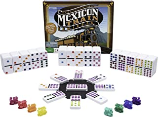 Mexican Train Dominoes - Beautiful Color Dot Double 12 Dominoes Set - Includes Train Markers and Hub by Pressman Multi Col...