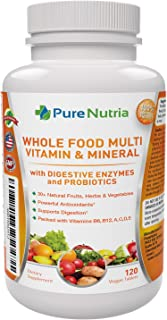 Whole Food MultiVitamin and Minerals with Probiotic Enzymes - 120 Multivitamins for Women and Men - Packed with WholeFood ...