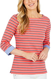 Nautica Women's 3/4 Cuffed Sleeve Chambray Casual Top (Coral, XX-Large)