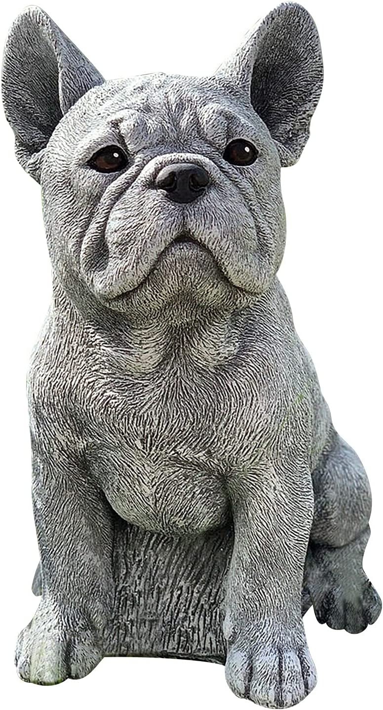 Anu Linen Resin Dog Statues,Dog Resin Statues for Yard and Garden Decor,French Bulldog Statue, Figurines Puppy Lying Down Statues, Garden Ornaments, Yard Statue for Home and Garden Decor