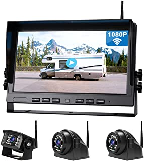 """$429 » Antook 10"""" 1080P Wireless Backup Camera DVR System 3 x Side Rear View Reversing Cameras and Quad Split Display Monitor for..."""
