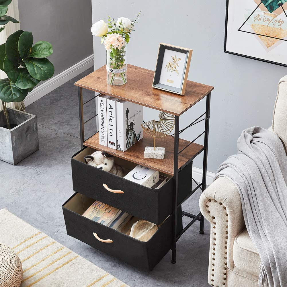 YUEHUI Rustic Nightstand Industrial Very popular Bedside Cheap mail order shopping with Table Fabric 2