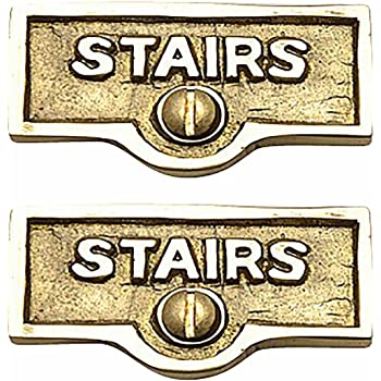2 Switch Plate Tags Stairway Name Signs Lacquered Brass Renovator S Supply Amazon Com