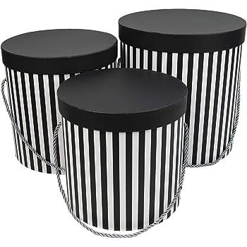Juego de 3 cajas de almacenamiento redondas con tapa, con cordón y borla, caja para sombreros, caja decorativa con rayas (negro/blanco): Amazon.es: Hogar