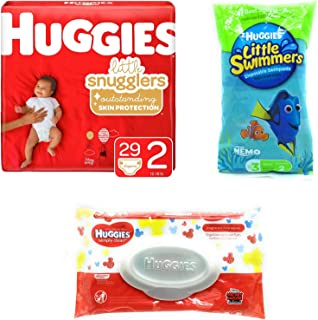 Huggies Little Snugglers Baby Diapers Size 2 with 24 Count Wipes and Bonus Travel Size Little Swimmers Bundle (Packaging May Vary)